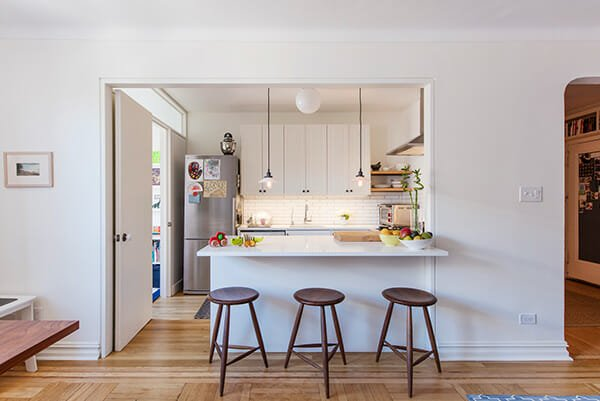 kitchen remodel with half open wall