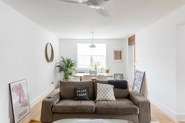 open bright living room