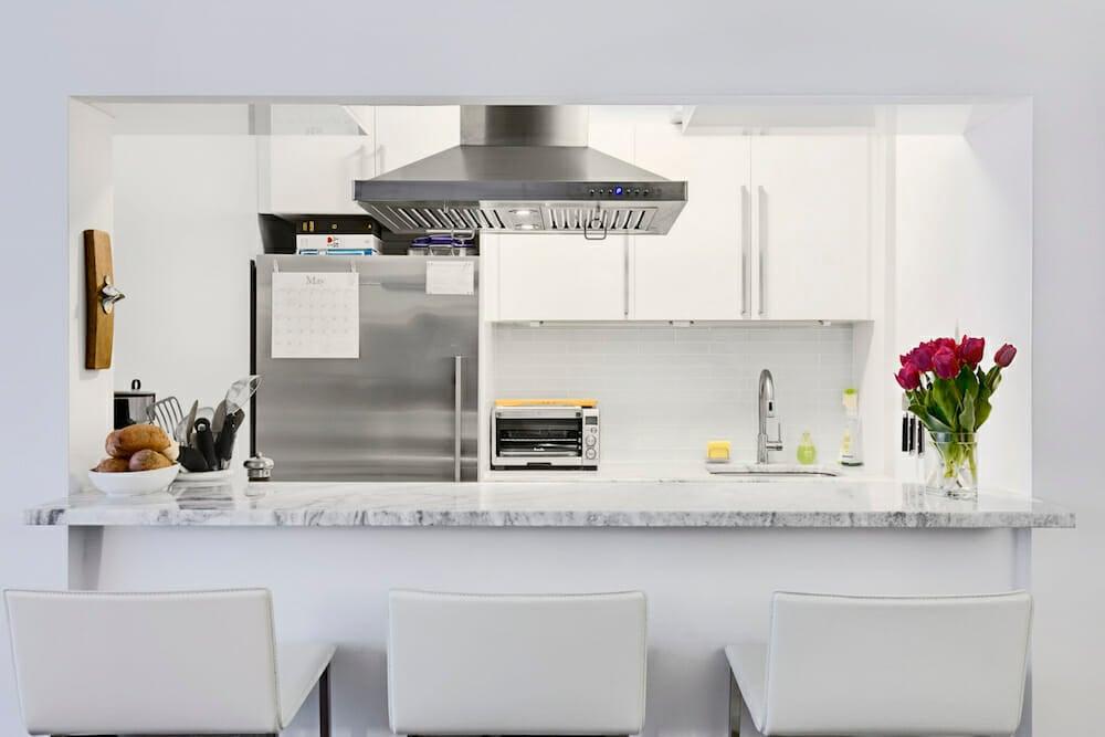 Glossy ikea cabinets shine in a brooklyn kitchen renovation - Brooklyn kitchen design ...