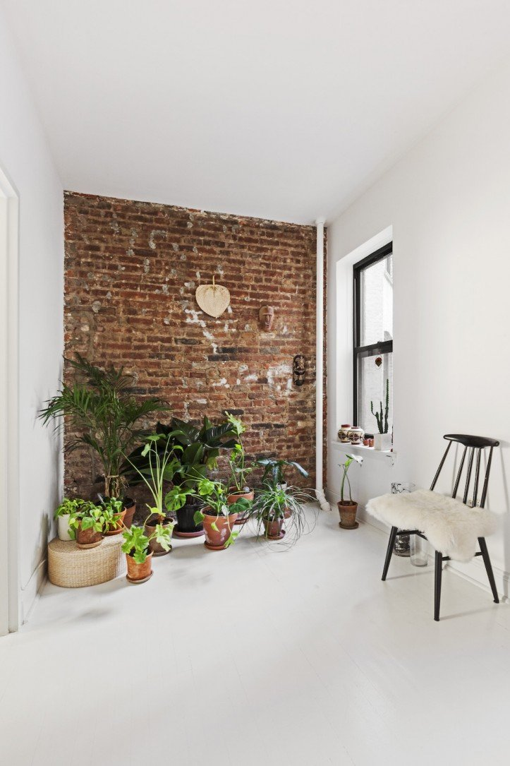 Plants and exposed brick wall