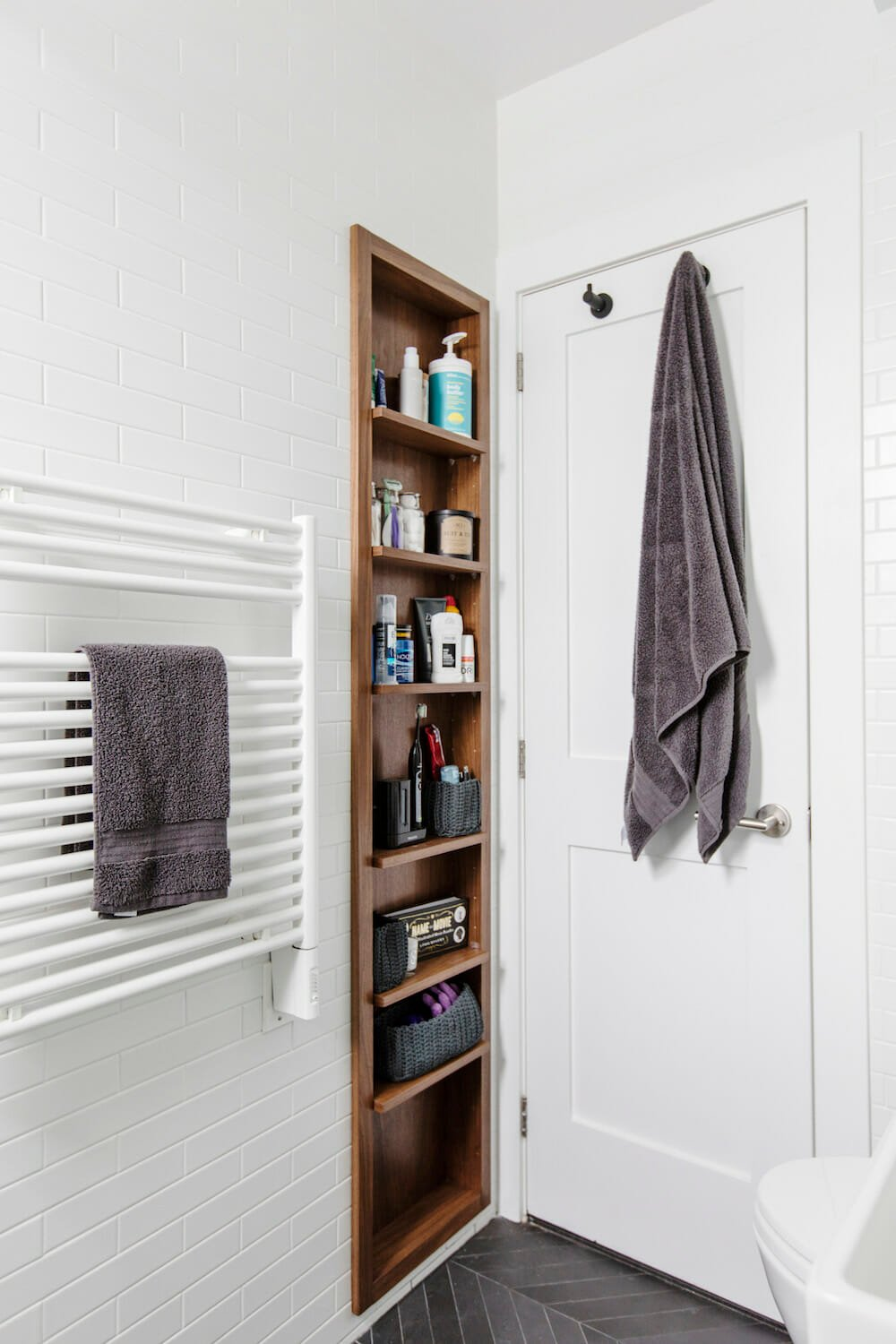 Scandinavian white bathroom with storage