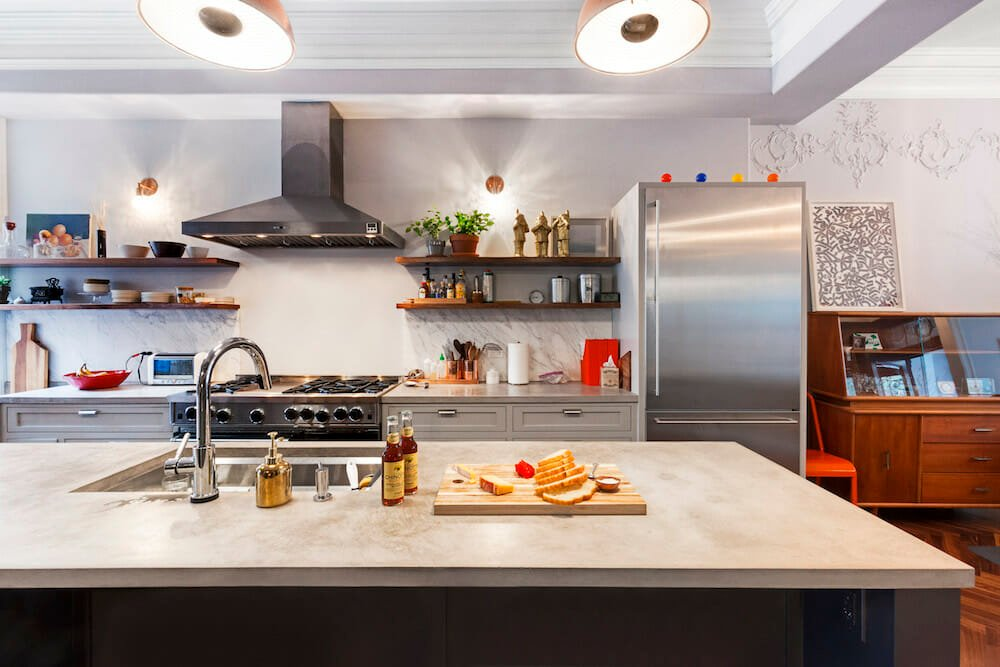 Image of concrete countertops on a kitchen island