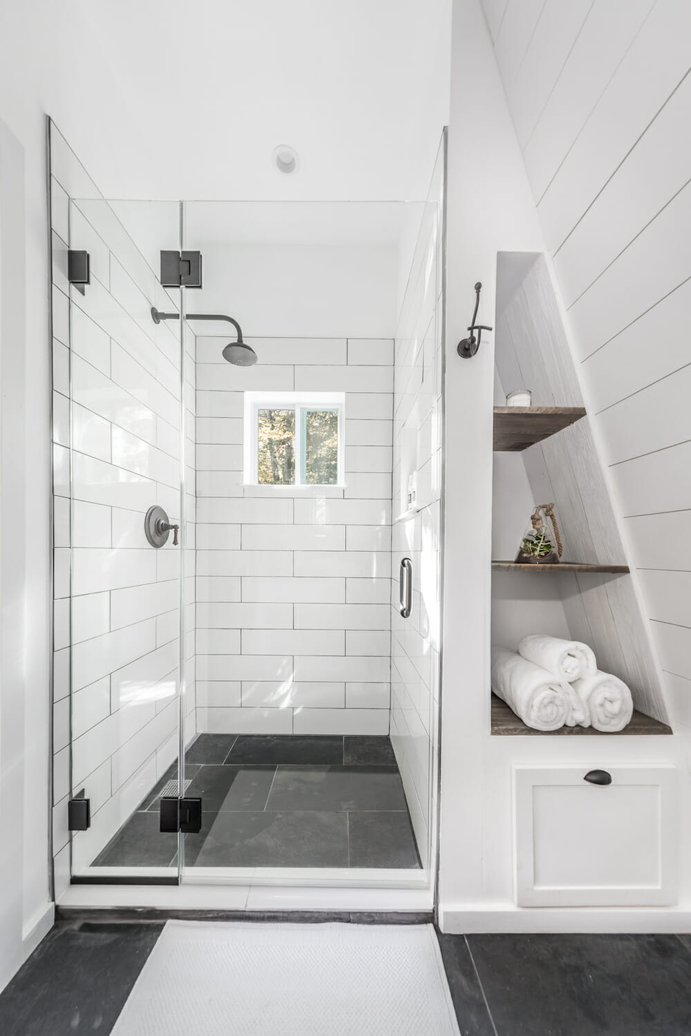 white bathroom with shiplap