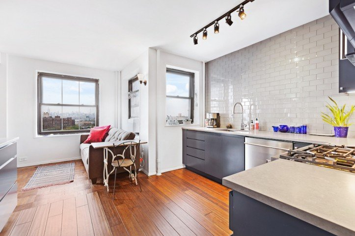 apartment renovation, clinton hill co-op, kitchen, subway tile, spot lighting, hardwood floors