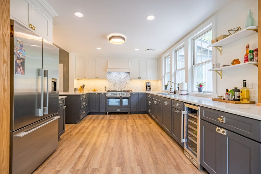 Two-tone kitchen cabinets in gray and white