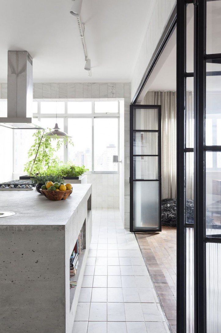 kitchen, waterfall island, concrete, marble tile