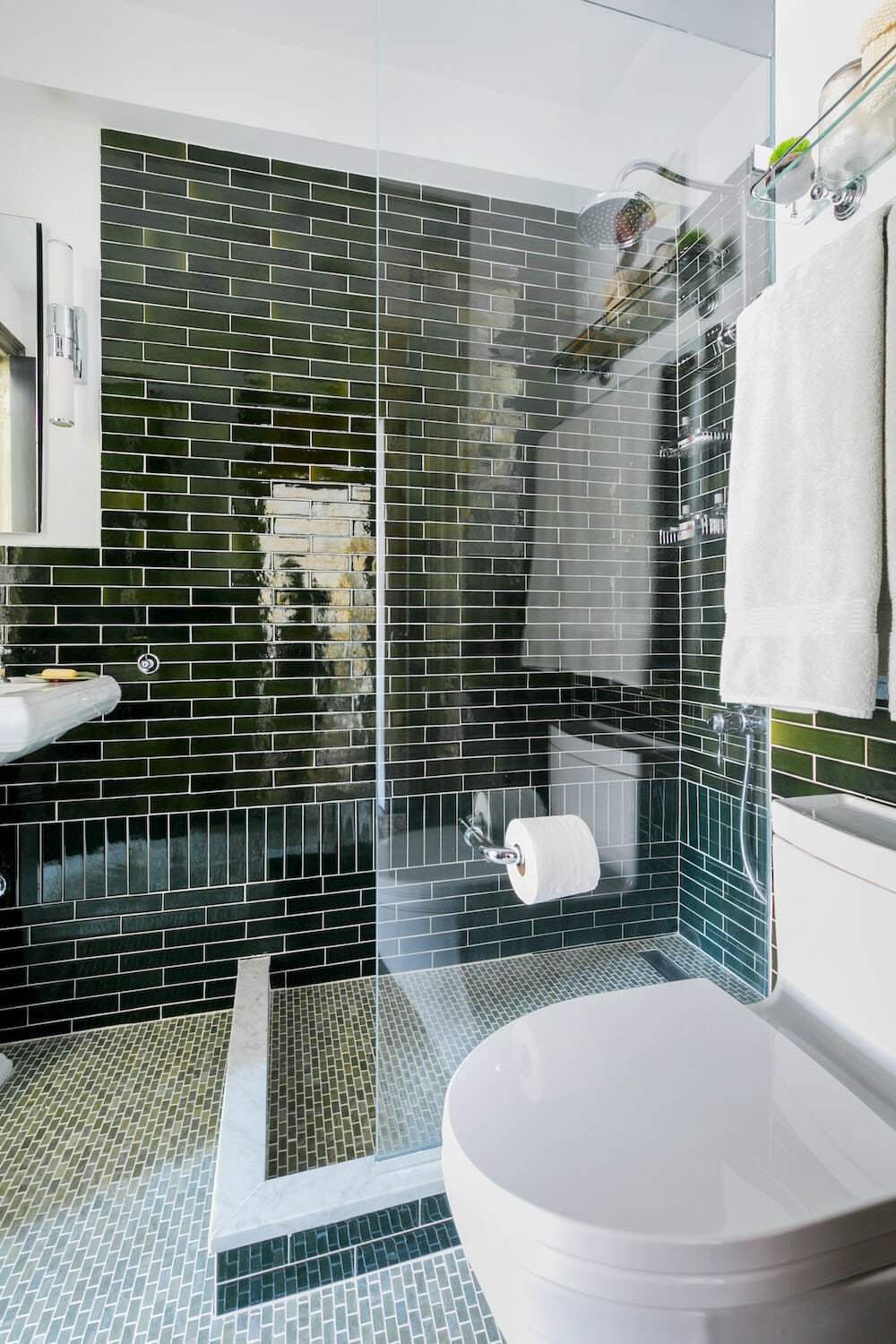 Gramercy Park bathroom, bathroom renovation, tile, glass divider, tile floor, tile wall, toilet