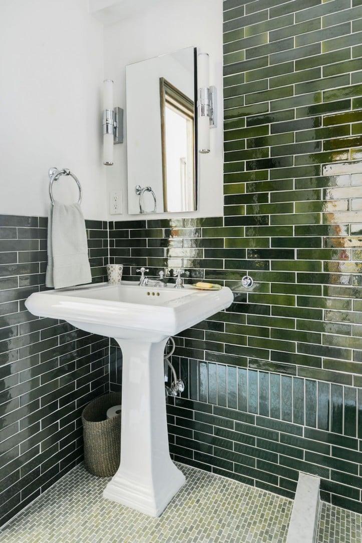 Gramercy Park bathroom, bathroom renovation, tile, glass divider, tile floor, tile wall, pedestal sink