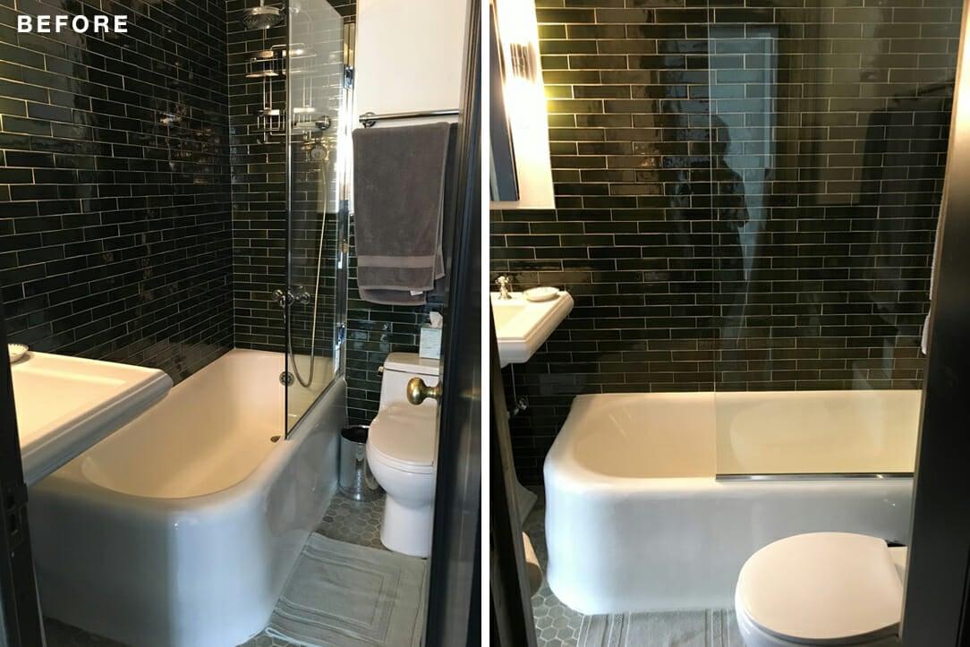 Gramercy Park bathroom, bathroom renovation, bathtub, tile, glassdoor