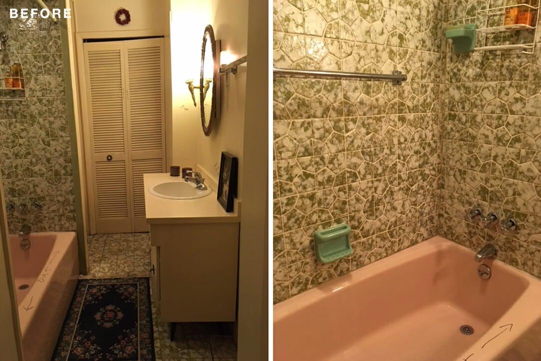 Papel de parede cheio e uma banheira rosa desatualizada deixam este banheiro implorando por uma atualização moderna