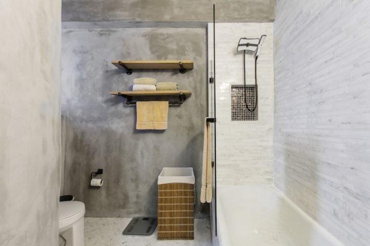 small concrete bathroom, renovation, remodel, construction