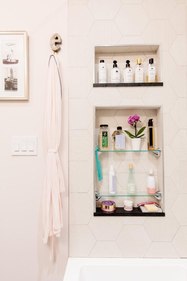 storage niches in shower