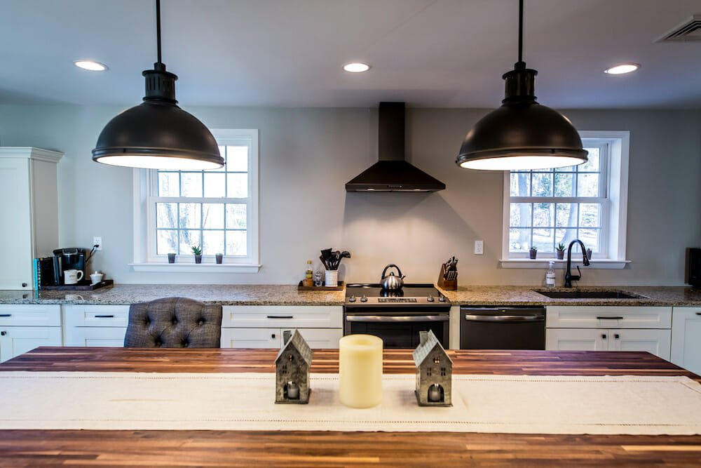countertop and pendant lighting