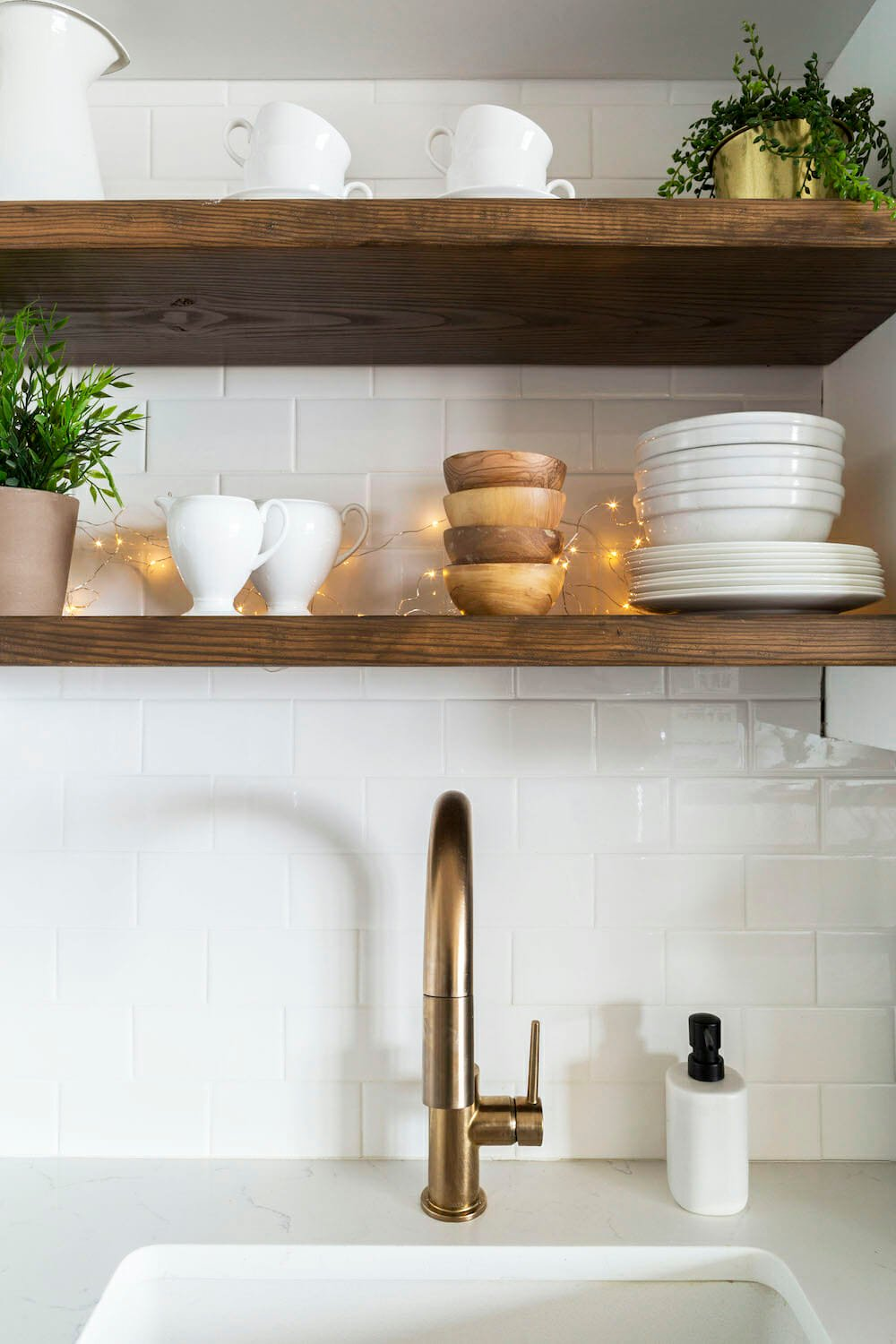 open shelves above sink