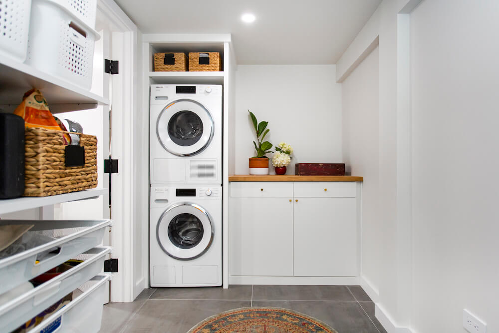 washer and dryer basement