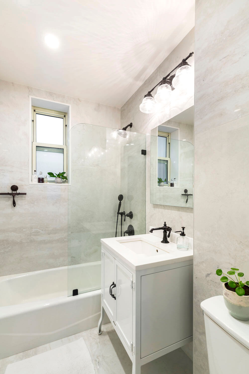 remodeled bathroom-white-porcelain tile