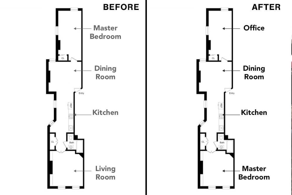 Floor plans for a railroad-style apartment in New York City