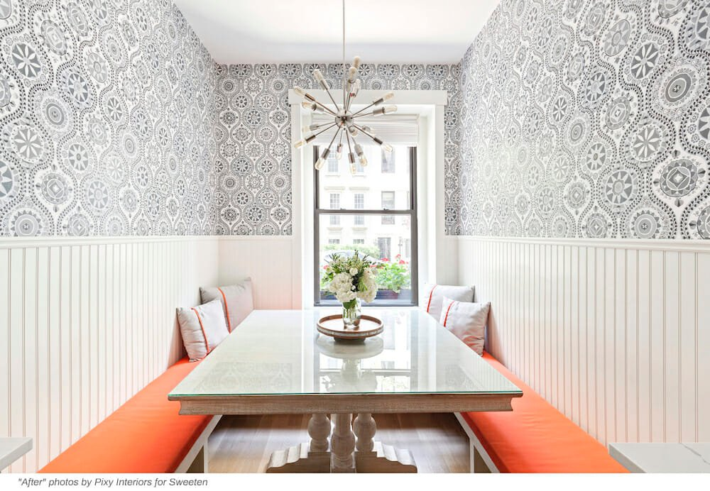 Orange U-shaped eat-in kitchen banquette seating