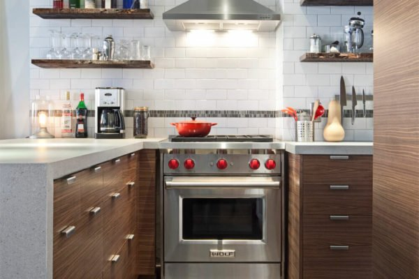Image of kitchen with Semihandmade cabinets and oven