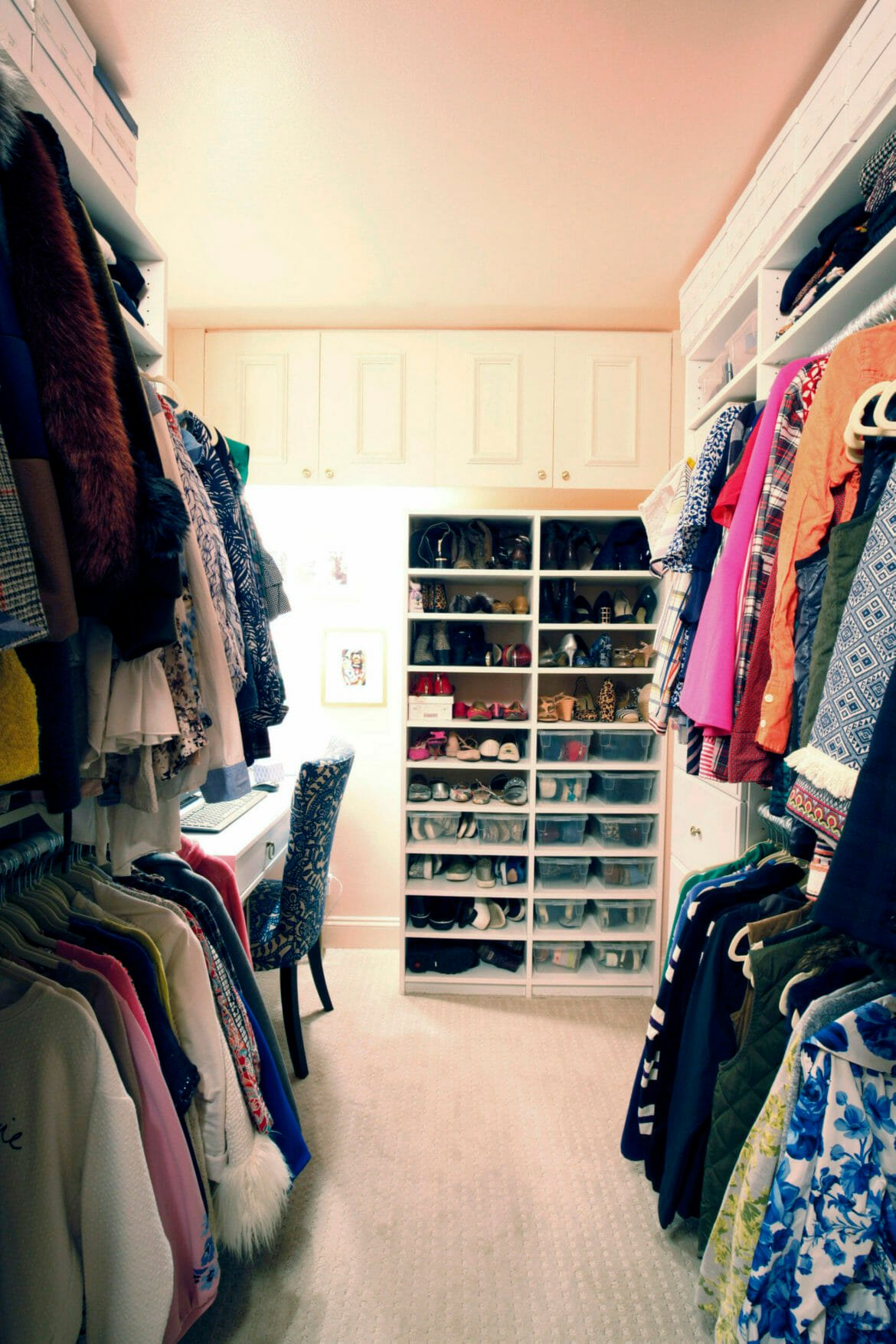 a walk-in closet adds work from home space
