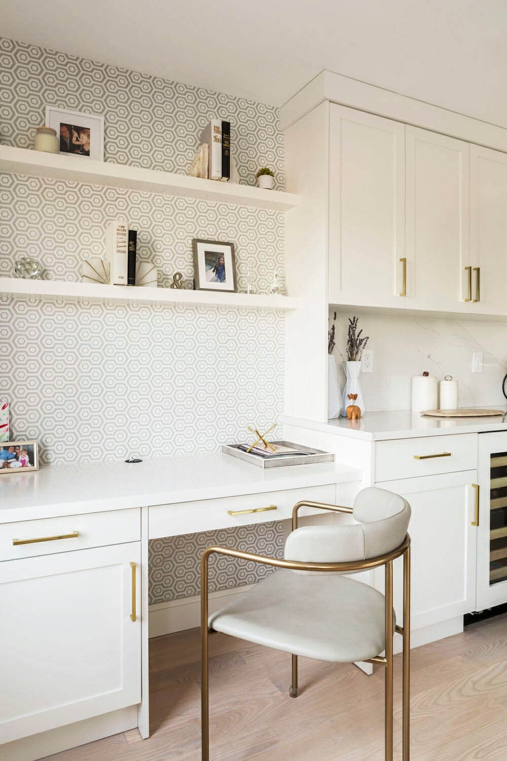 white kitchen with desk