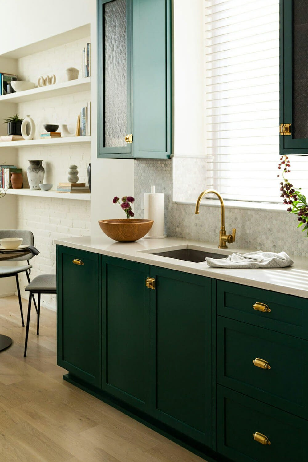 painted green cabinets